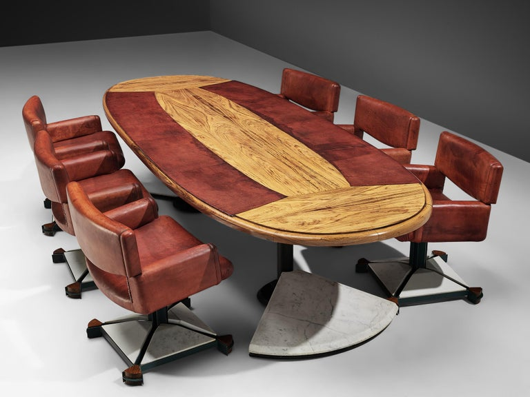 Post-Modern Set of Conference Table and Chairs in Walnut and Red Leather For Sale
