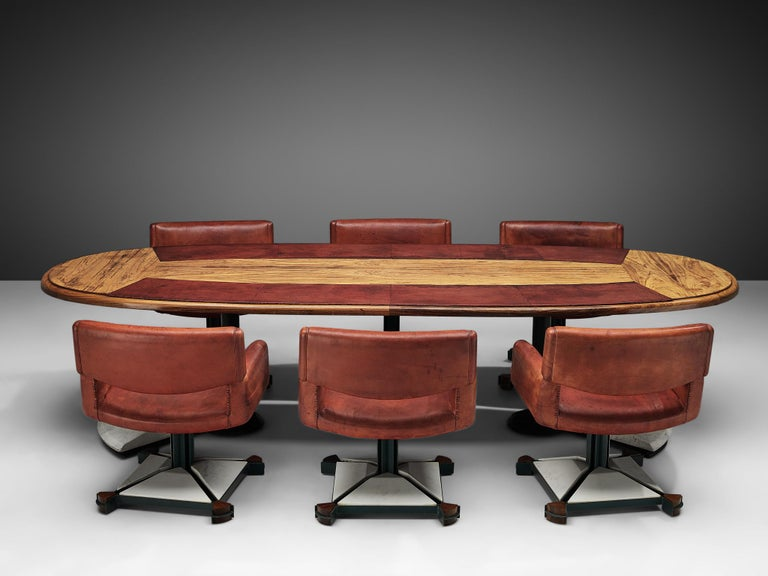 Italian Set of Conference Table and Chairs in Walnut and Red Leather For Sale