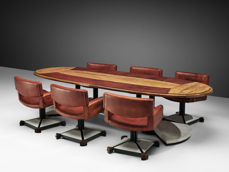 Set of Conference Table and Chairs in Walnut and Red Leather In Good Condition For Sale In Waalwijk, NL