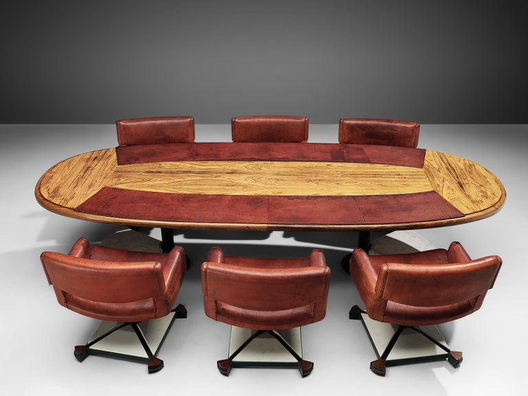 Late 20th Century Set of Conference Table and Chairs in Walnut and Red Leather For Sale