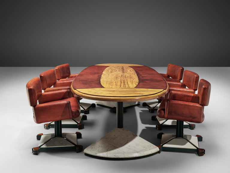 Set of Conference Table and Chairs in Walnut and Red Leather For Sale 1