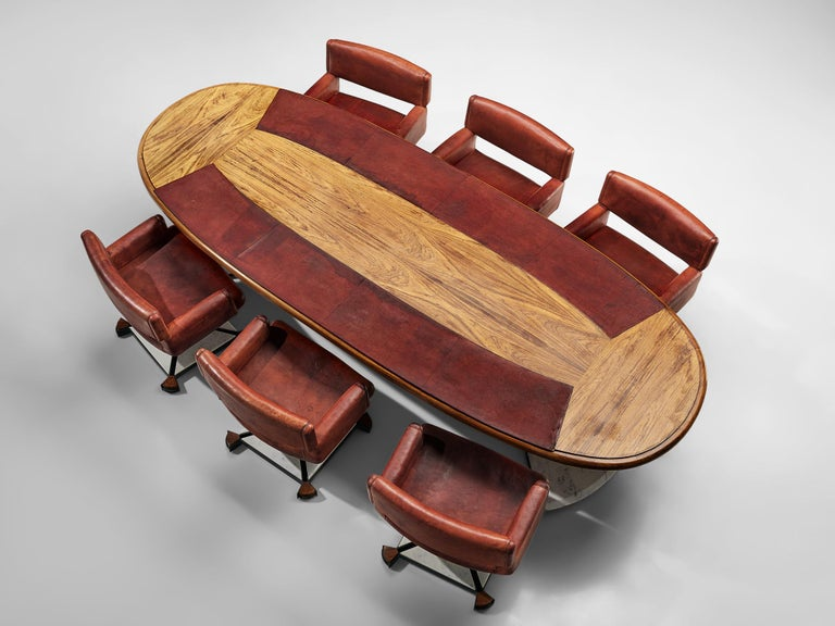 Set of Conference Table and Chairs in Walnut and Red Leather For Sale 2