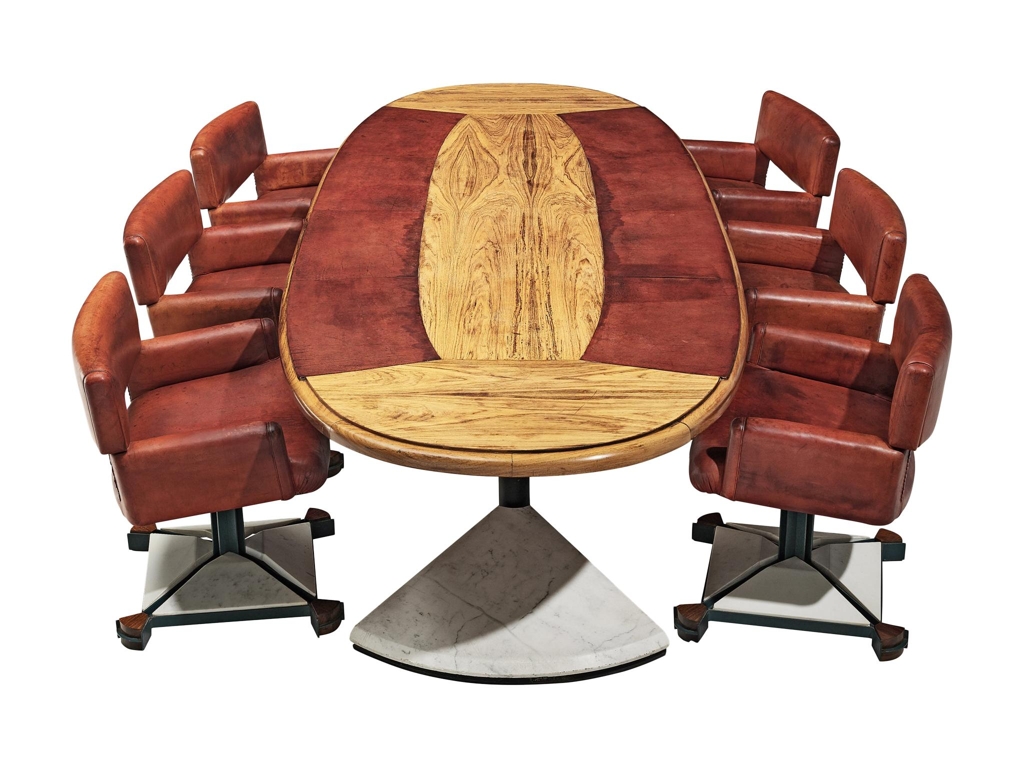 Set of Conference Table and Chairs in Walnut and Red Leather