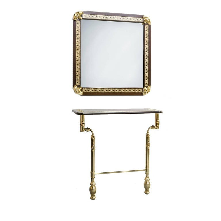 Set of Console and Mirror with Wooden Frame