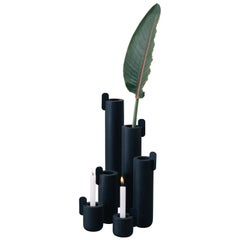 Set of Contemporary Black Wooden Vases and Candlesticks, Kobe Collection