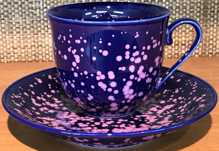 Extraordinary set of six contemporary Japanese hand-glazed ceramic cups and saucers in a beautiful shape in six of his signature colors, masterfully glazed to showcase the artist's signature glazing techniques, works by widely respected