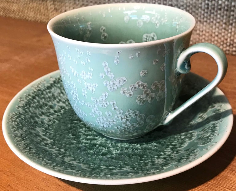 Set of Contemporary Japanese Glazed Porcelain Cups and Saucers by Master Artist In New Condition For Sale In Vancouver, CA