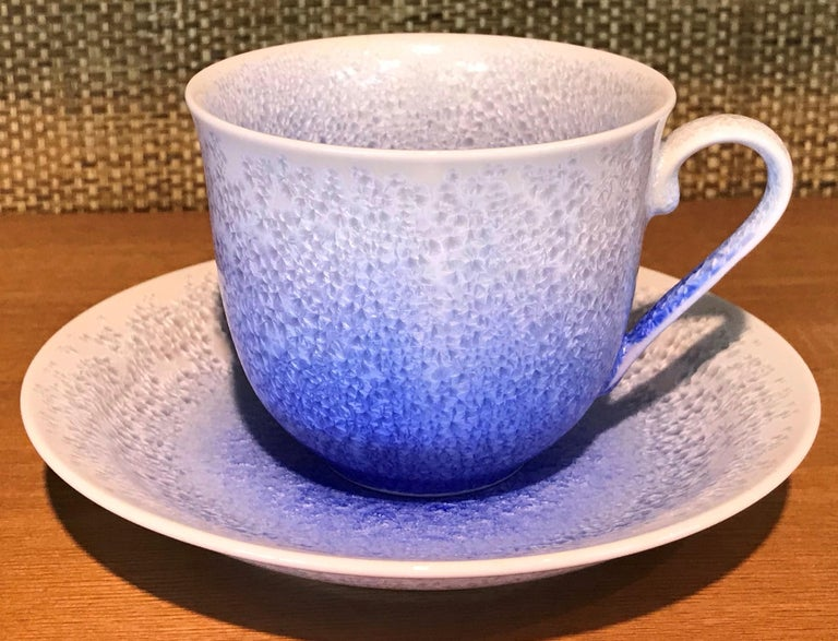 Set of Contemporary Japanese Glazed Porcelain Cups and Saucers by Master Artist For Sale 1