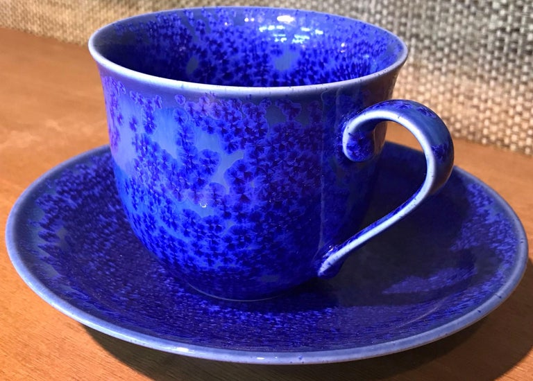 Set of Contemporary Japanese Glazed Porcelain Cups and Saucers by Master Artist For Sale 2