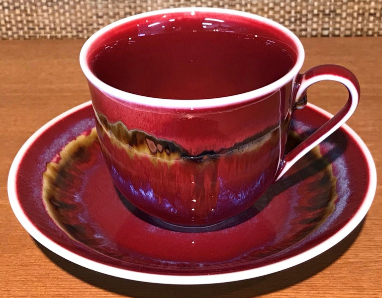 Set of Contemporary Japanese Glazed Porcelain Cups and Saucers by Master Artist For Sale 3