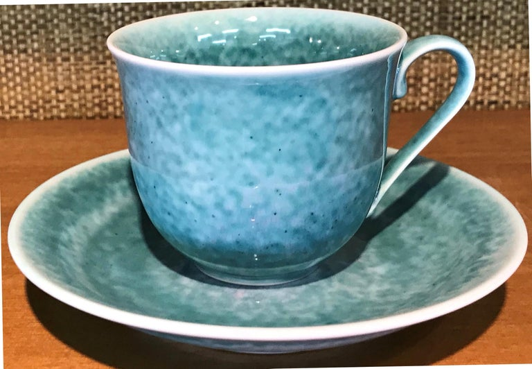 Set of Contemporary Japanese Glazed Porcelain Cups and Saucers by Master Artist For Sale 4