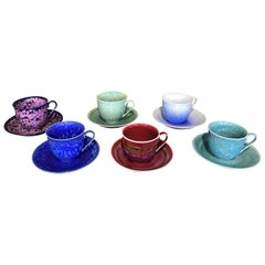 Set of Contemporary Japanese Glazed Porcelain Cups and Saucers by Master Artist