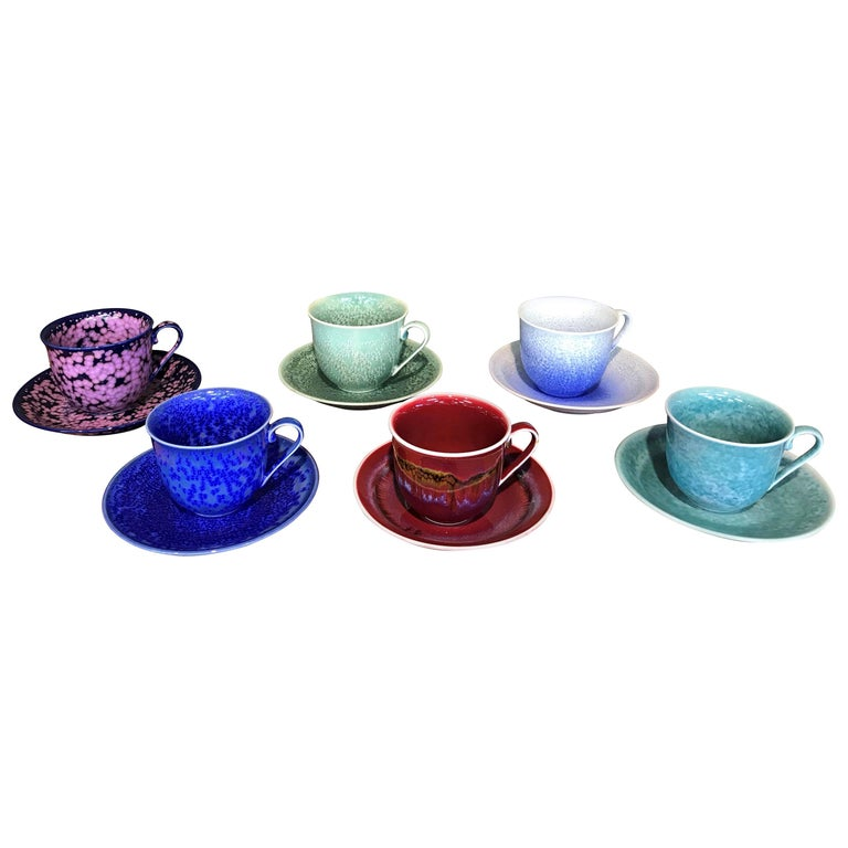 Set of Contemporary Japanese Glazed Porcelain Cups and Saucers by Master Artist For Sale