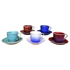 Set of Contemporary Japanese Hands-Glazed Porcelain Cup Saucer by Master Artist