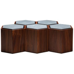 Set of Contemporary Modular Side or center Table (or stool) in Wood and Stone.