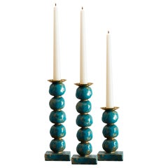Set of Contemporary Turquoise European Sculptural Candlesticks by Margit Wittig