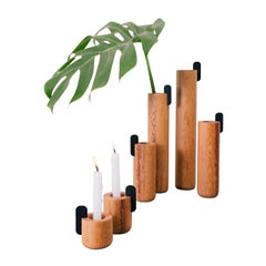 Set of Contemporary Wooden Vases and Candlesticks, Kobe Collection