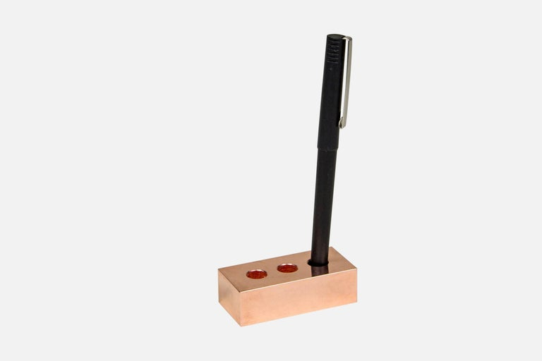 Modern Set of Copper Pen Brick and Wave Business Card Holder from Souda, in Stock For Sale