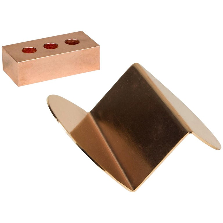 Set of Copper Pen Brick and Wave Business Card Holder from Souda, in Stock For Sale