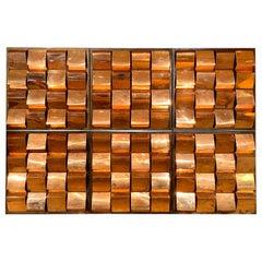 Set of Copper Wall Lights Panels, 1970s