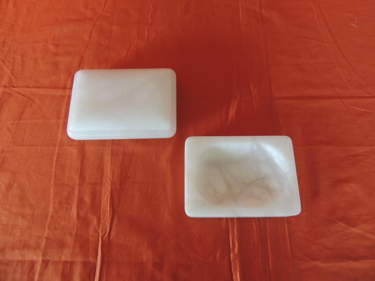 Hand carved set of covered box and soap dish Italian Alabaster decorative accessories.
