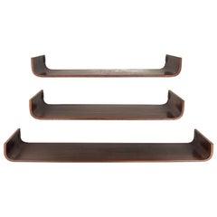 Set of Creazioni Stilcasa Midcentury Curved Wood Italian Shelves, 1960s