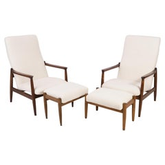 Set of Crème Boucle Armchairs and Stools, Gfm-64 High, Edmund Homa, 1960s