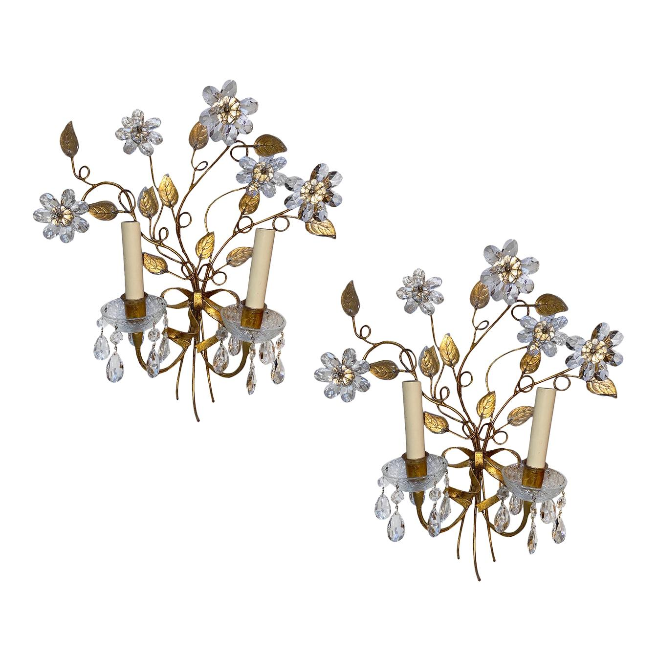 Set of Crystal Flower Sconces, Sold in Pairs