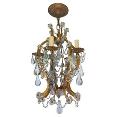 Set of Crystal & Gilt Metal Chandeliers, Sold Individually