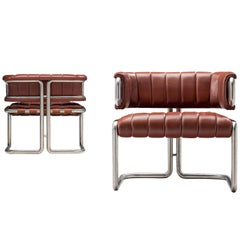 Set of Cubist Tubular Lounge Chairs in Red Leather