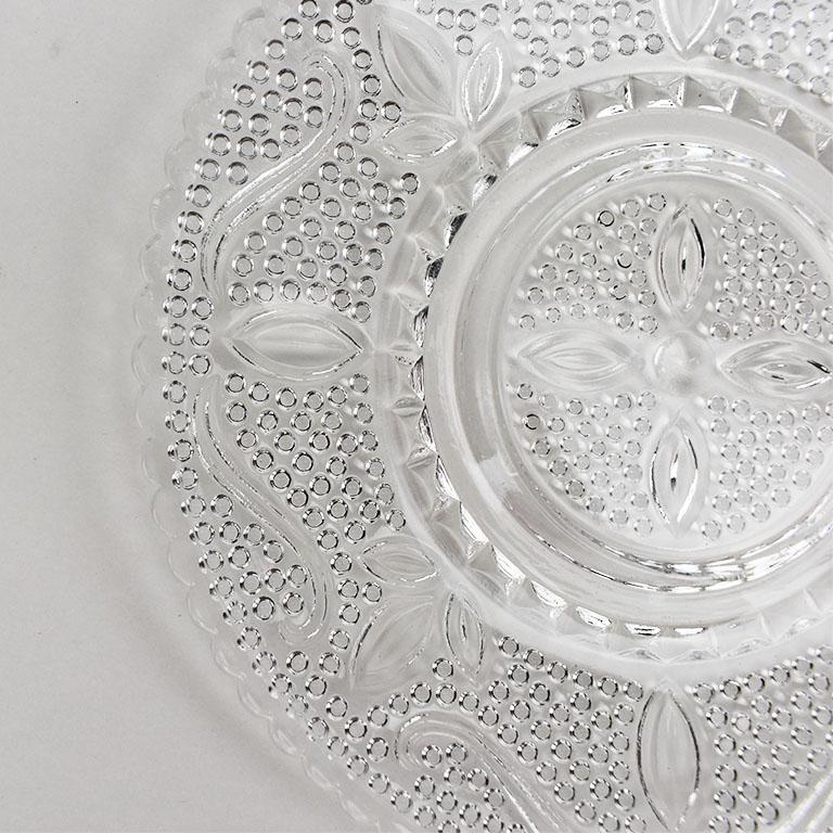 Art Nouveau Set of Cut Glass Salad Plates, Set of 6 For Sale