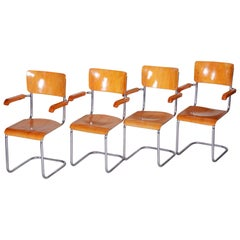 Set of Czech Beech Bauhaus Armchairs, Vichr a Spol., Four Pieces, Chrome, 1930s