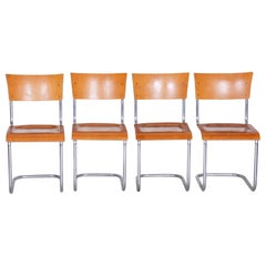 Set of Czech Beech Bauhaus Chairs by Robert Slezak, Four Pieces, Chrome, 1920s