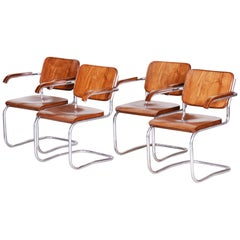 Set of Czech Walnut Bauhaus Armchairs, Vichr a Spol., 4 Pieces, Chrome, 1930s