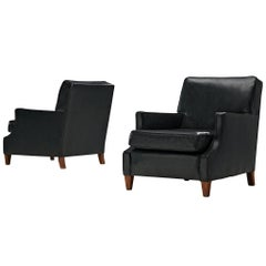 Set of Danish Armchairs in Original Black Leather