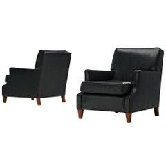 Set of Danish Armchairs in Original Black Leather