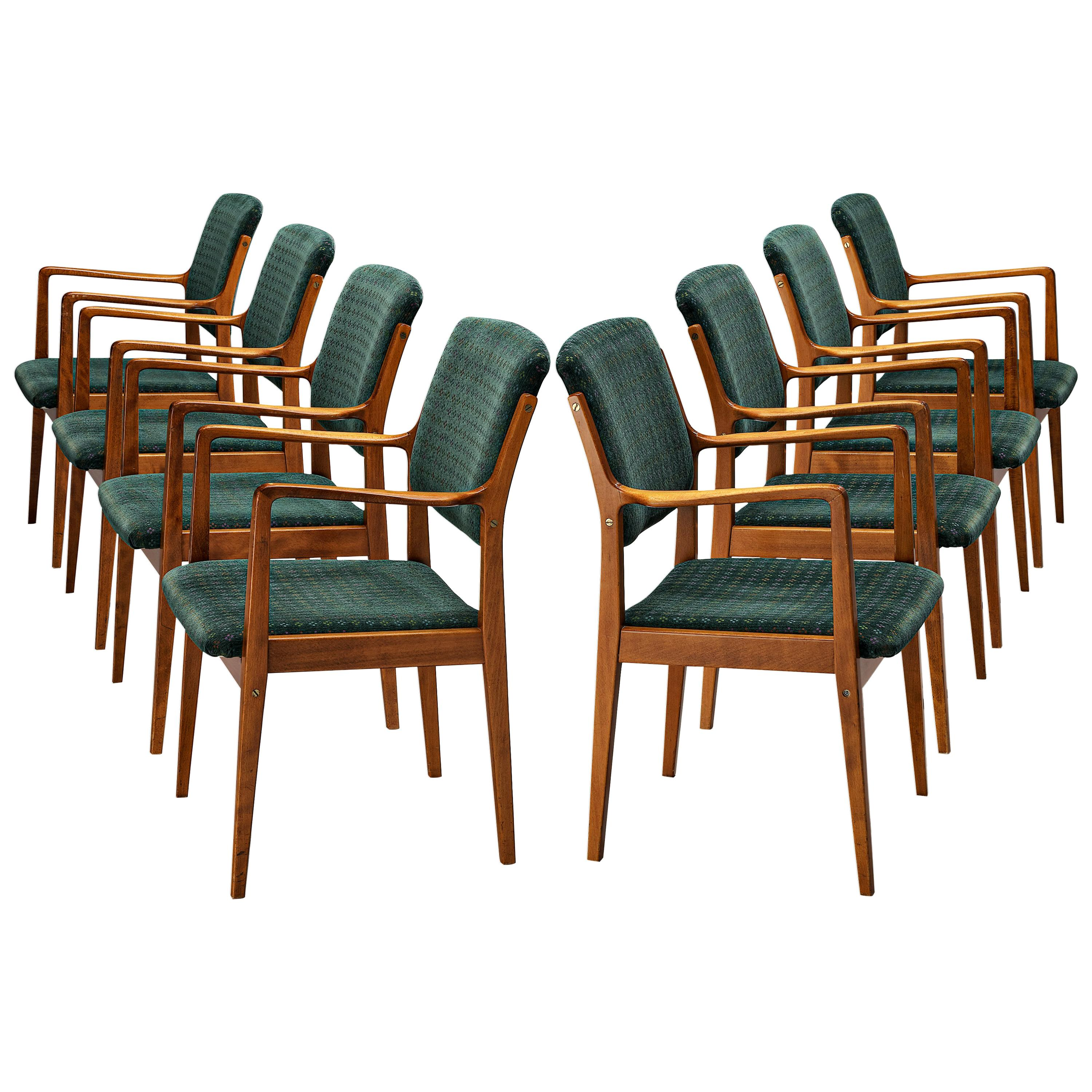 Set of Danish Armchairs in Teak and Green Upholstery