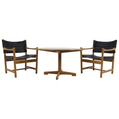Set of Danish Black Leather Armchairs and coffee table by Ditte and Adrian Heath