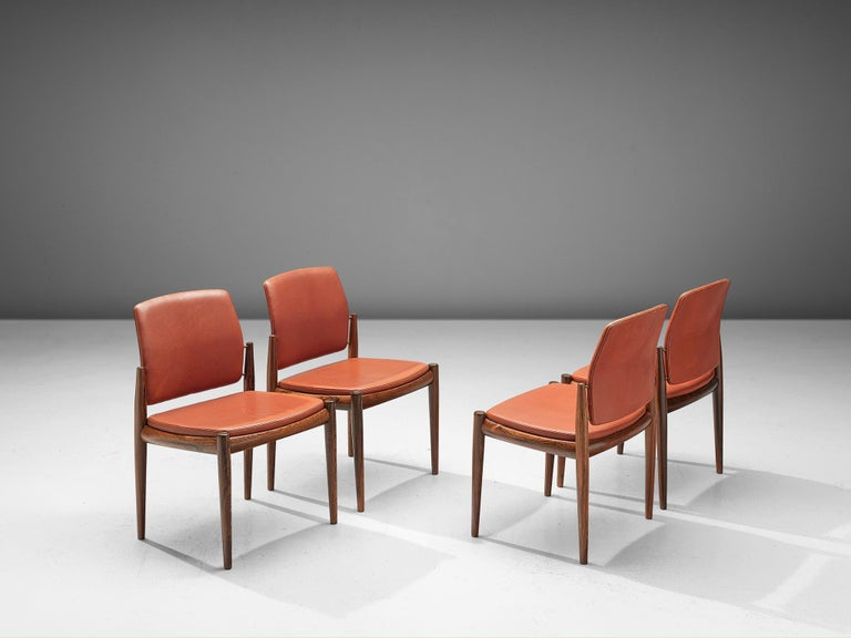 Four dining chairs, rosewood and leather, Denmark, 1960s