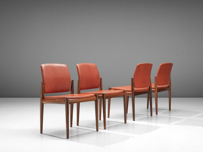 Scandinavian Modern Set of Danish Dining Chairs in Hardwood and Leather For Sale
