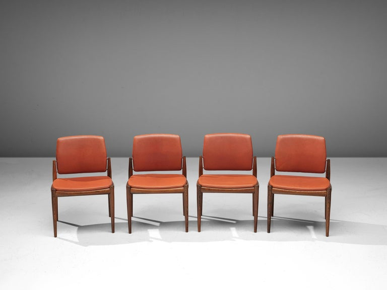 Mid-20th Century Set of Danish Dining Chairs in Hardwood and Leather For Sale