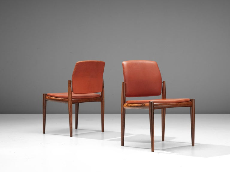 Set of Danish Dining Chairs in Hardwood and Leather For Sale 1
