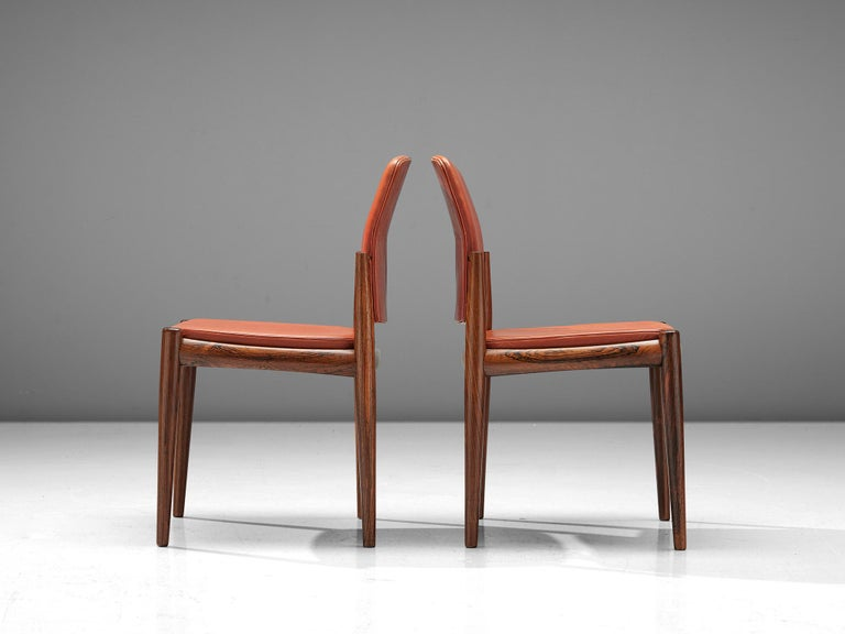 Set of Danish Dining Chairs in Hardwood and Leather For Sale 2