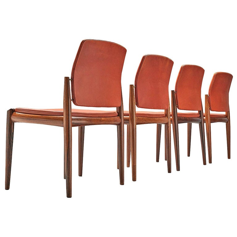Set of Danish Dining Chairs in Hardwood and Leather For Sale