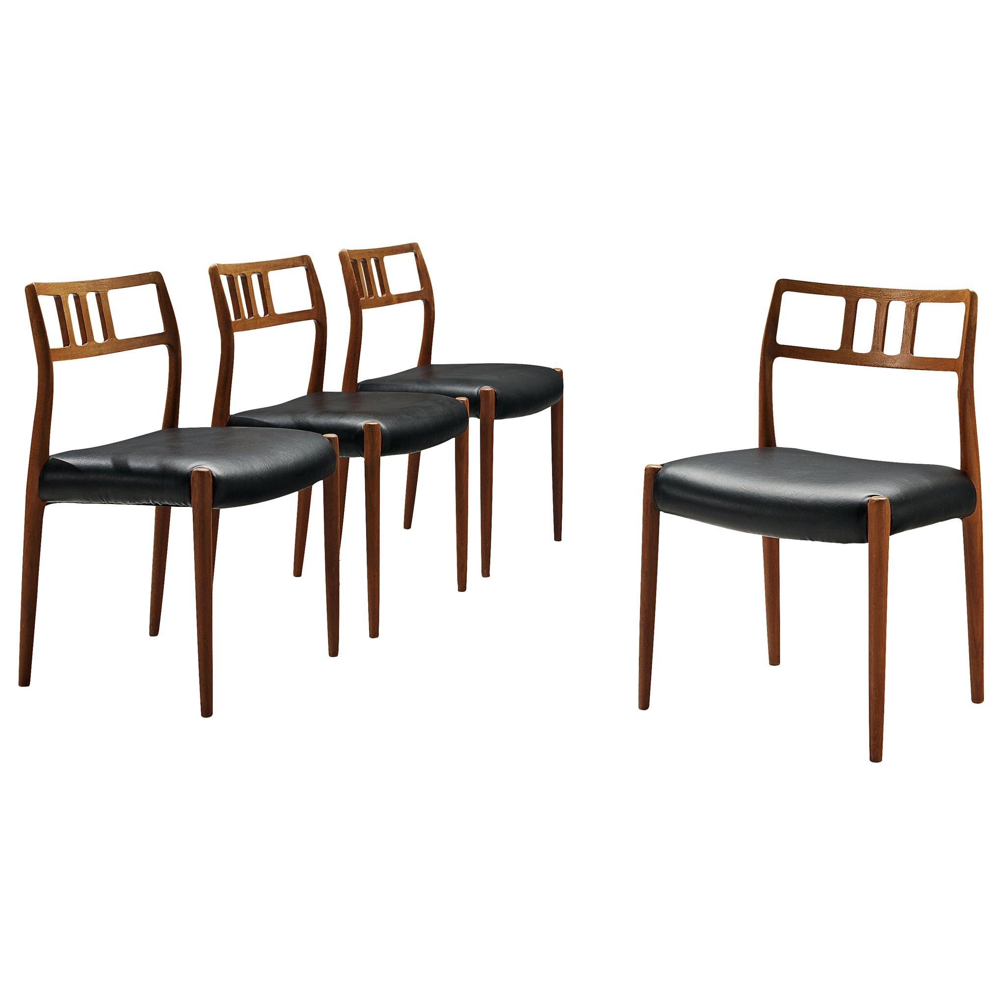 Set of Danish Dining Chairs in Teak and Leather