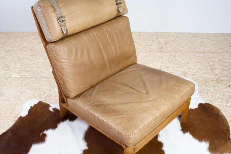 Mid-20th Century Set of Danish High Back Lounge Chairs in Tan Leather and Oak, 1960s Komfort For Sale