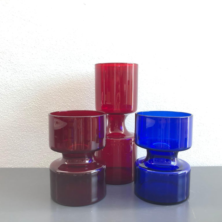 Women's or Men's Set of Danish Holmegaards Vases 1960s Ruby Red and Blue For Sale