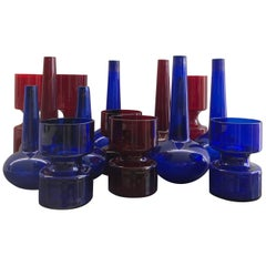 Set of Danish Holmegaards Vases 1960s Ruby Red and Blue