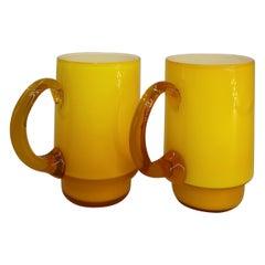 Holmegaard Danish Modern Yellow, Caramel Glass Cups by Michael Bang, 1969