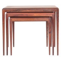 Set of Danish Modern Nesting Tables in Rosewood by Johannes Andersen, 1960s